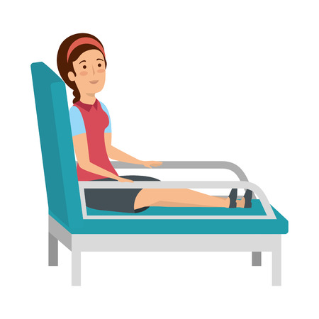 businesswoman sitting in psychiatrist chair vector illustration design  イラスト・ベクター素材