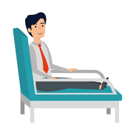 businessman sitting in psychiatrist chair vector illustration design