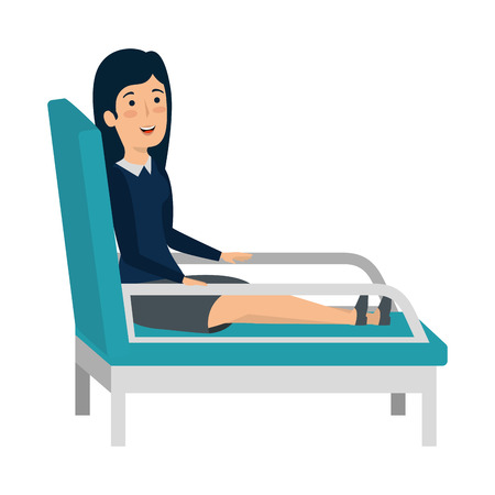 businesswoman sitting in psychiatrist chair vector illustration design Stock Illustratie