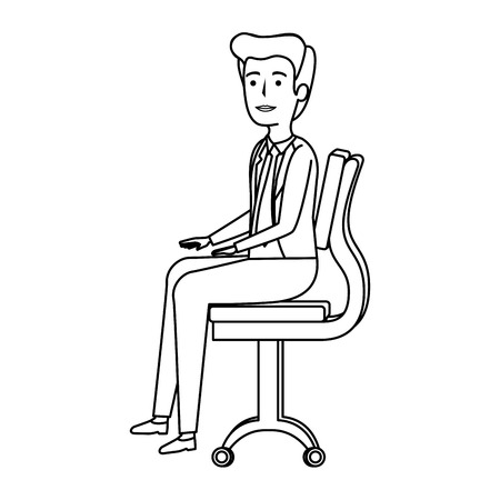 elegant businessman sitting in the chair vector illustration design