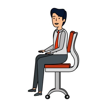elegant businessman sitting in the chair vector illustration design