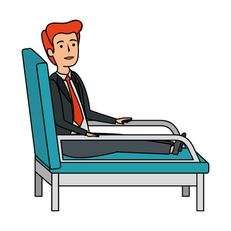 businessman sitting in psychiatrist chair vector illustration design