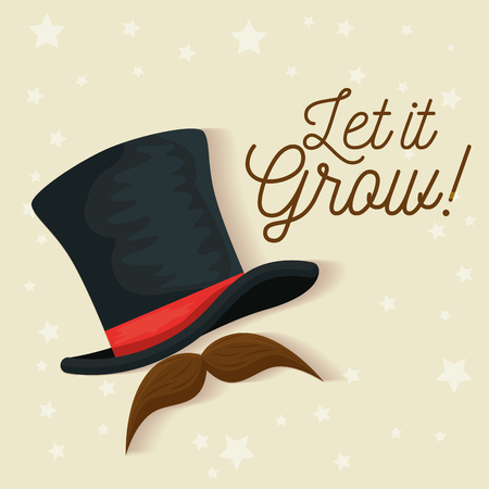 male hat with mustache style to movember vector illustration Illustration