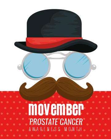 male hat with glasses and mustache to movember vector illustration