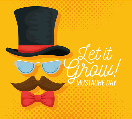 male hat with glasses and tie bow with mustache vector illustration Illustration