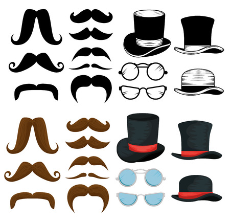 set male mustaches style with hats and glasses vector illustration Illustration