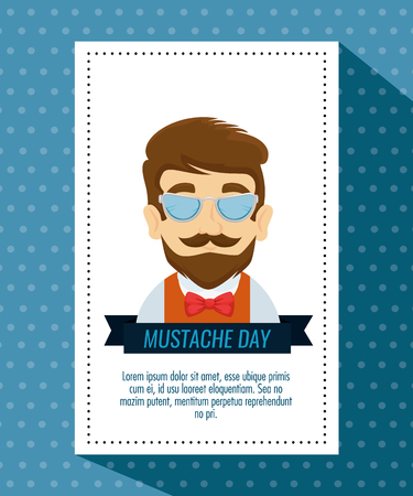 man wearing glasses with mustache style and tie bow vector illustration