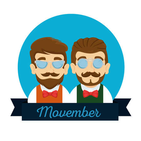 men wearing tie bow with mustache style vector illustration