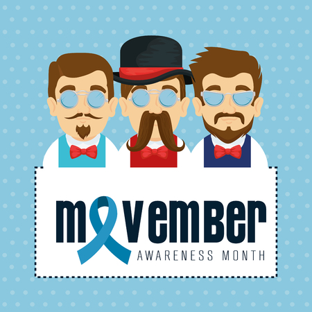 men wearing tie bow with mustache and blue ribbon vector illustration