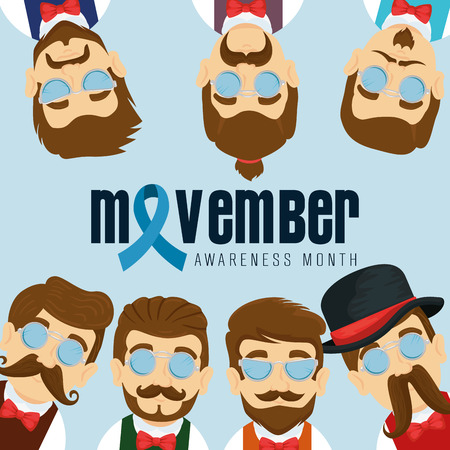 men wearing tie bow with mustache and ribbon vector illustration