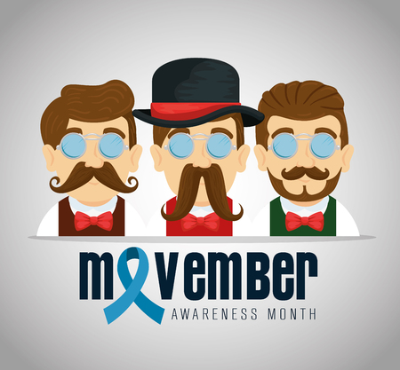 men wearing glasses with mustache and blue ribbon vector illustration Illustration