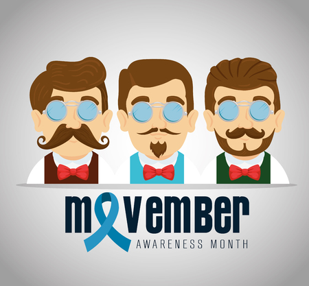 men with tie bow and mustache with blue ribbon vector illustration