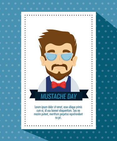man wearing glasses and tie bow with mustache vector illustration