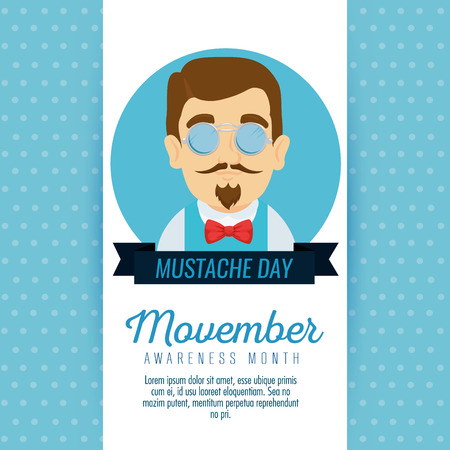 man wearing glasses and tie bow with mustache style vector illustration