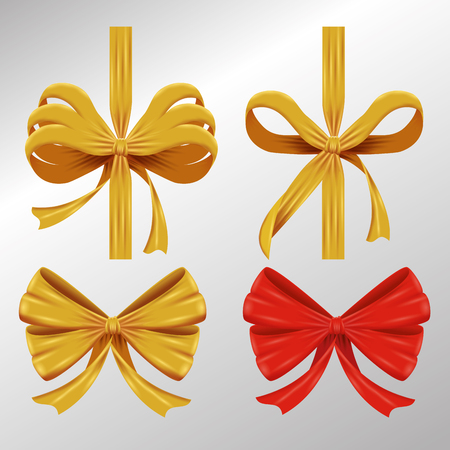 set ribbon bow accessory to gift decoration vector illustration