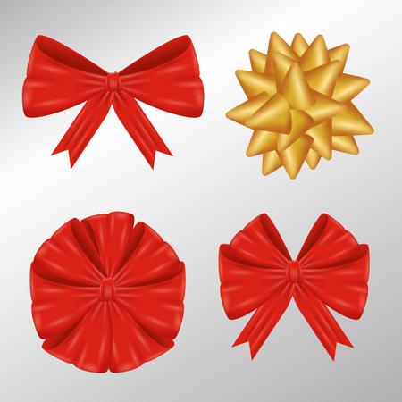 set ribbon bow to gift decoration vector illustration