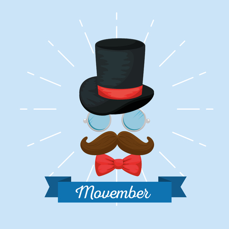 male hat with tie bow and mustache style vector illustration Illustration