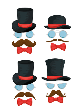set hats with glasses accessories and mustaches style vector illustration