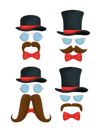 set hats with glasses and tie bow accessories vector illustration Ilustração