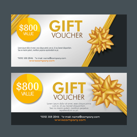 set gift coupon discount with ribbon bow vector illustration