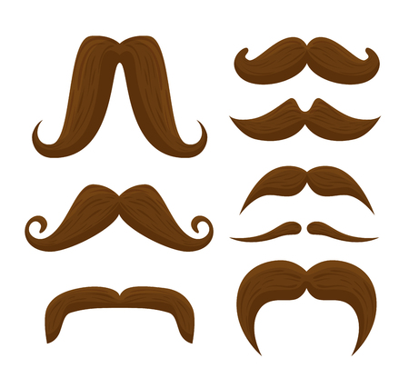 set male mustaches style for men's health event vector illustration