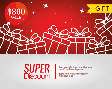 gift coupon discount with special sale vector illustration