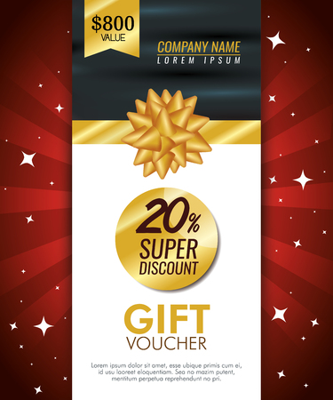 gift coupon card with special sale vector illustration Archivio Fotografico - 112669843