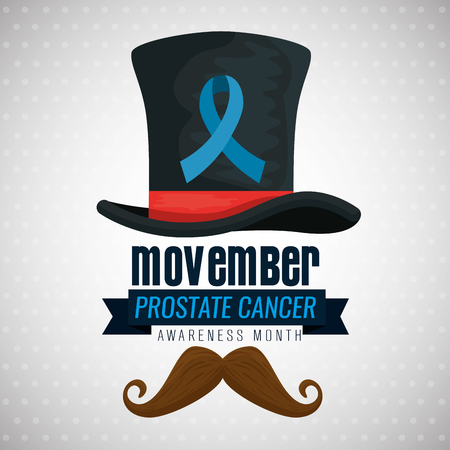 male hat with mustache and blue ribbon vector illustration Illustration