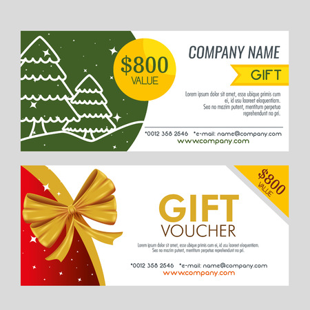 set christmas gift coupon decoration vector illustration