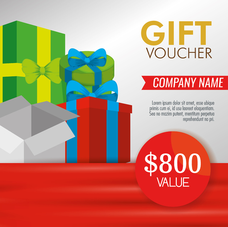 goft voucher with presents and special sale discount vector illustration Archivio Fotografico - 127348984