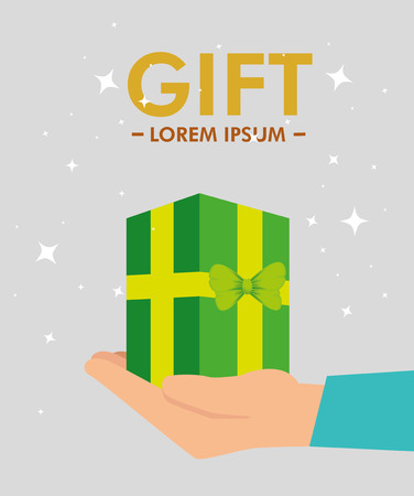 present gift in the hand with special sale vector illustration