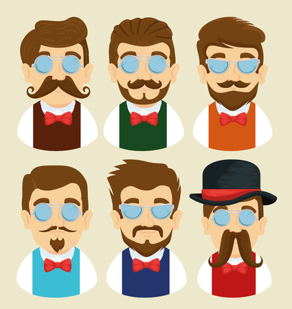 set man with glasses and mustache with tie bow vector illustration
