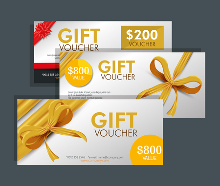 set gift voucher card with special discount vector illustration 向量圖像
