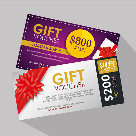gifts voucher card with special sale vector illustration Archivio Fotografico - 127348993