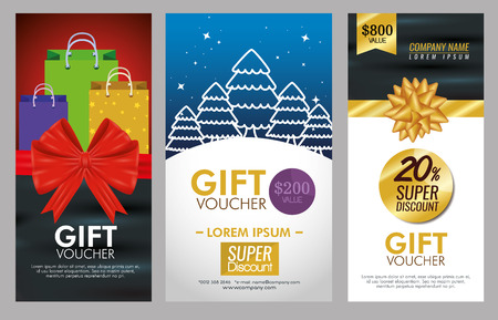 gifts voucher card with special promotion vector illustration Standard-Bild - 127348997