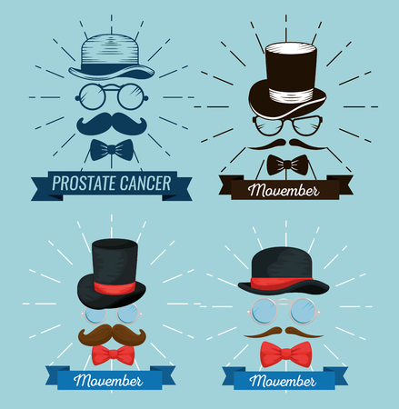 set glasses with hat and mustache with tie bow vector illustration Illustration
