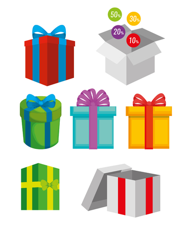 set presents with ribbon bow and special doscount vector illustration Standard-Bild - 127349000
