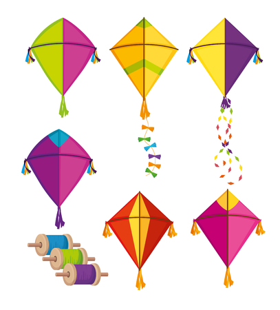 Establecer cometas makar sankranti para la celebración del festival ilustración vectorial