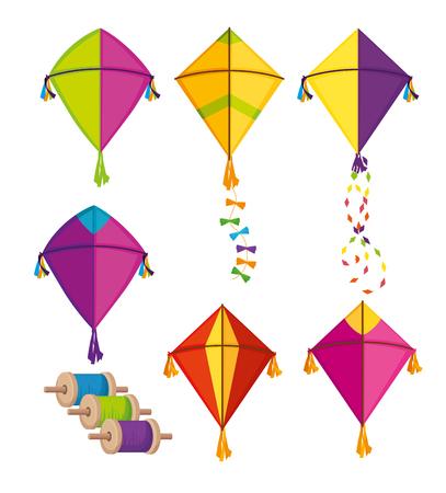 ustawić latawce makar sankranti na festiwalową ilustrację wektorową