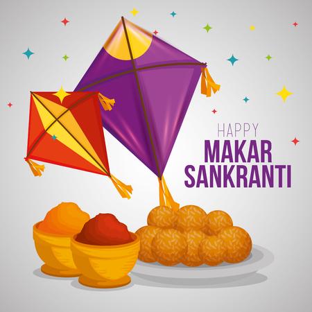 kites and food to makar sankranti ceremony vector illustration Ilustracja