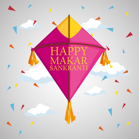 kite style to makar sankranti celebration vector illustration