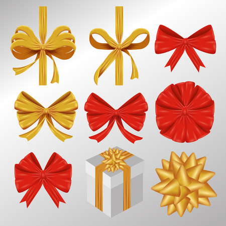 set ribbon bow decoration accessory vector illustration