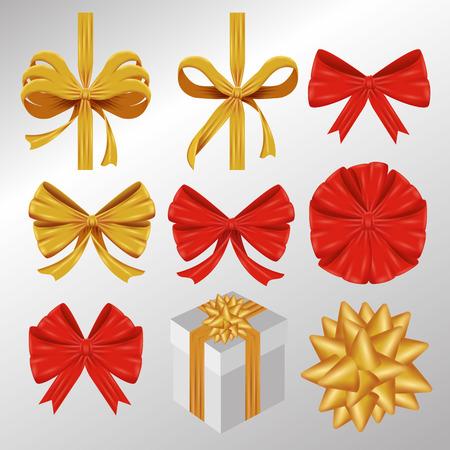 set ribbon bow decoration accessory vector illustration