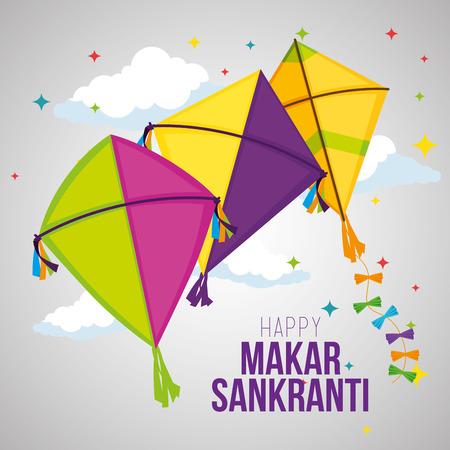 makar sankranti celebrazione con aquiloni design illustrazione vettoriale