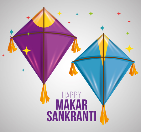 makar sankranti ceremony with creative kites vector illustration