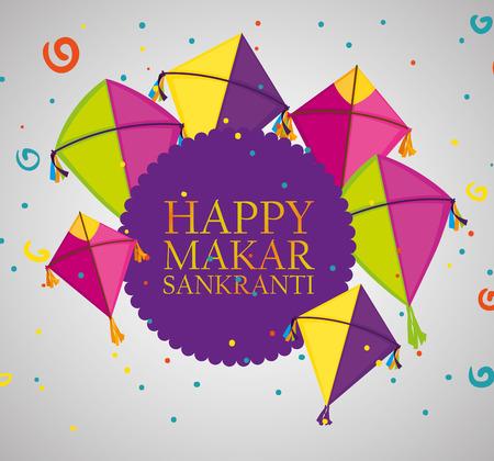 makar sankranti ceremony emblem with kites vector illustration Ilustracja