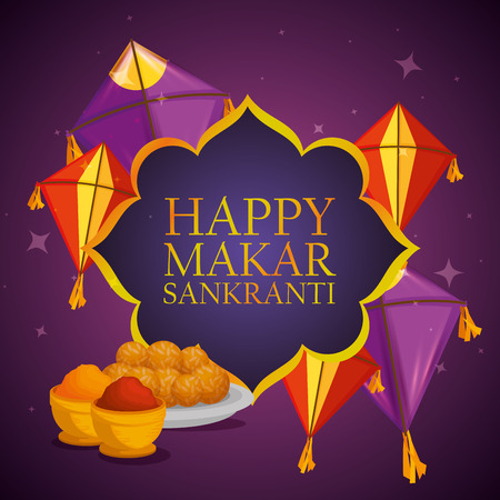 happy makar sankranti emblem ceremony vector illustration