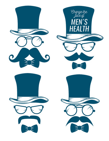 set male hat with glasses and mustache style vector illustration