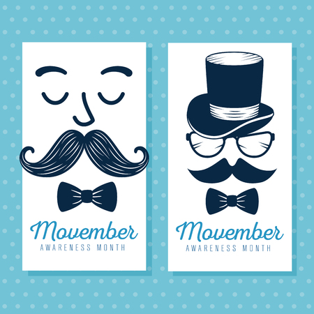 set face with mustache style and tie bow vector illustration