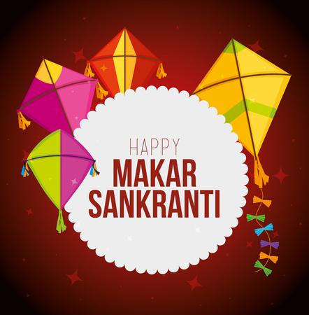 makar sankranti sticker with kites style vector illustration Ilustracja